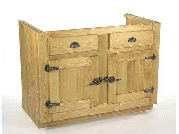 Meuble sous évier 2 portes pin massif pour cuisine Avoriaz
