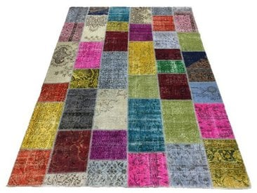 Tapis Patchwork Kilim Up-Cycle Multicolore