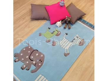 Tapis Enfant Lucky zoo bleu par Esprit Home (petites tailles)