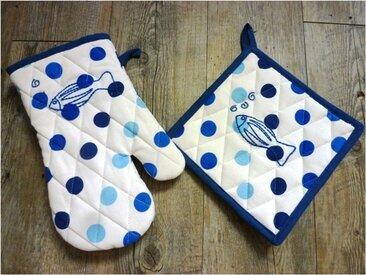 Gant et Manique à pois bleu avec motif poisson brodé