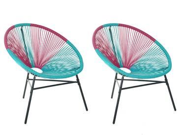 Set de 2 chaises roses et bleues ACAPULCO