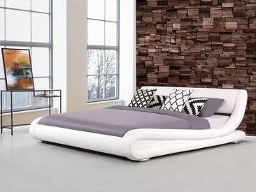 Lit design en cuir blanc 160x200 cm AVIGNON