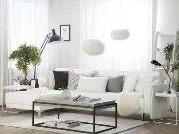 Canapé angle à droite en simili-cuir blanc ABERDEEN