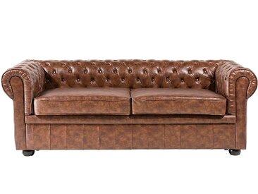 Canapé 2 à 3 places en simili cuir marron vintage CHESTERFIELD