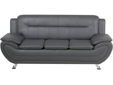 Canapé 3 places en simili cuir gris LEIRA