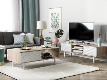 Meuble TV en bois clair et blanc SWANSEA