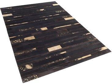 Tapis marron et doré en peau de vache 140 x 200 cm ARTVIN