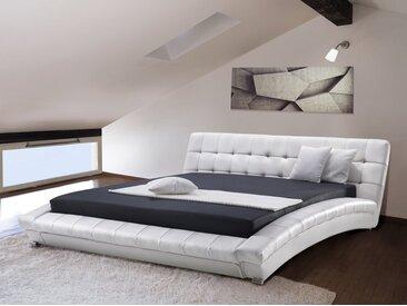 Lit à eau - lit en cuir 160x200 cm - blanc LILLE