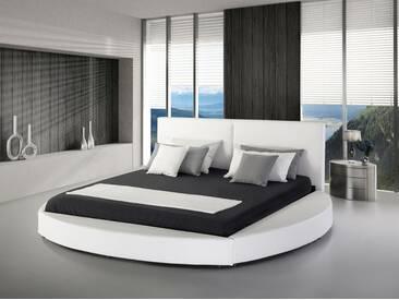 Lit design en cuir rond 180x200 cm blanc LAVAL
