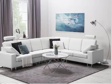 Canapé angle à gauche en cuir blanc STOCKHOLM