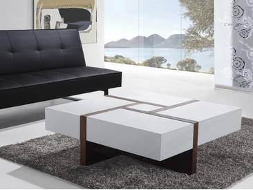 Table basse blanc 100 x 100 cm EVORA