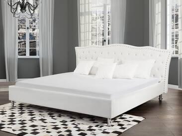 Lit design en cuir blanc 180x200 cm METZ