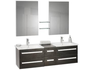 Meuble double vasque à tiroirs miroir inclus noir MADRID
