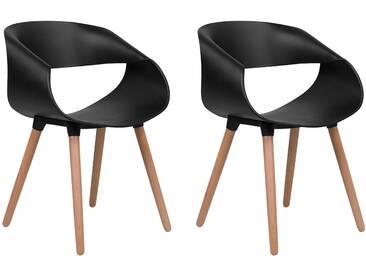 Set de 2 chaises en polypropylène noir CHARLOTTE