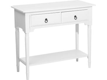 Console blanche avec 2 tiroirs LOWELL