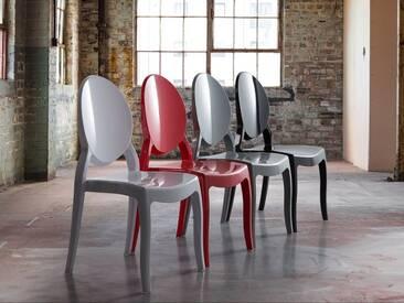 Chaise de salle à manger en plastique blanc MERTON