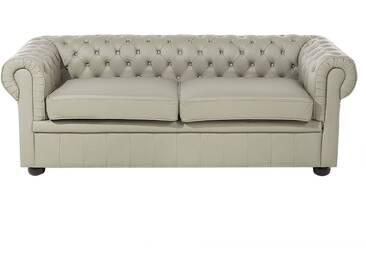 Canapé en cuir beige taupe CHESTERFIELD