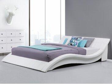 Lit à eau - lit en cuir 180x200 cm - blanc VICHY