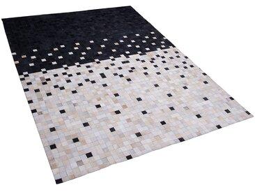 Tapis en cuir 140 x 200 cm noir et beige ERFELEK