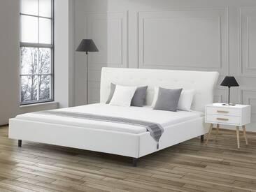 Lit double en cuir blanc 160 x 200 cm SAVERNE