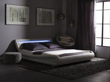 Lit à eau en cuir blanc avec LED 180 x 200 cm AVIGNON