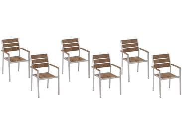 Lot de 6 chaises de jardin marron VERNIO
