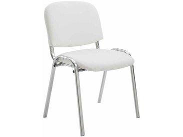 CLP Chaise visiteur Ken support chromé similicuir, blanc CLP  blanc