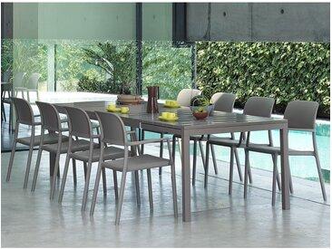 Ensemble de jardin Table Rio 210-280x100 et 8 fauteuils Riva NARDI