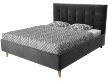 Lit scandinave 140x190 cm SOFTY velours gris