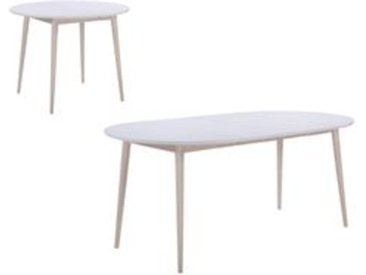 Table ronde + 2 extensions MALENA scandinave Bois et blanc