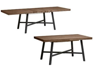 SOLDES - Table de séjour extensible  LIBRA Imitation chêne foncé et noir