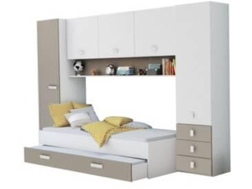 Lit 90x200 cm avec rangements Coloris blanc et gris argile TIDY