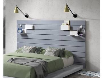 SOLDES - Tête de lit avec tablettes Coloris gris MIKADO