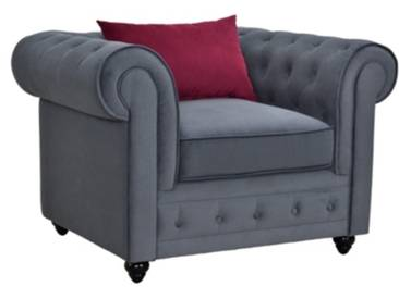 SOLDES - Fauteuil chesterfield CHESTER tissu gris anthracite