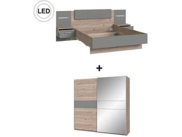 SOLDES - Chambre complète Lit 140x190 cm + armoire GINGER