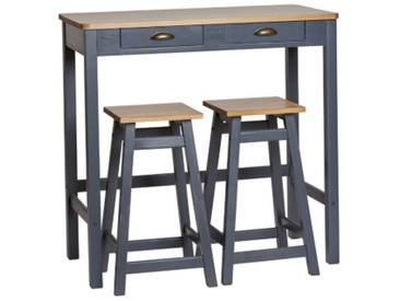 Table bar + 2 tabourets MAYA Bois massif gris