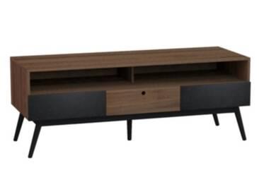 Meuble TV 3 tiroirs FLODEN Noyer/noir