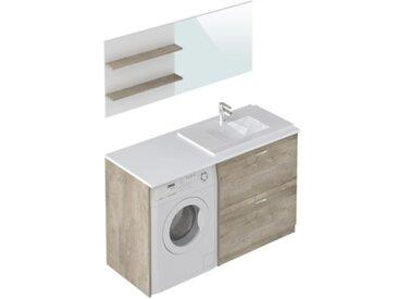 Meuble pour emplacement lave-linge SICILE Chêne et blanc
