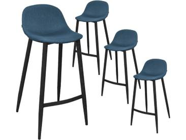 Taylor - Lot de 4 Tabourets de Bar Scandinaves Bleu Pétrole