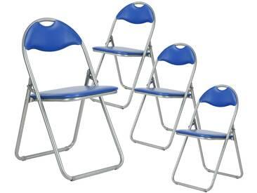 Patty - Lot de 4 Chaises Pliantes Bleues et Grises