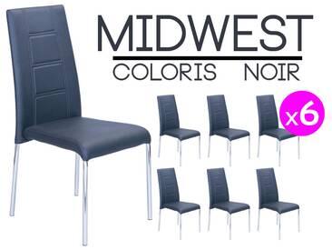 Midwest - Lot de 6 Chaises Noires