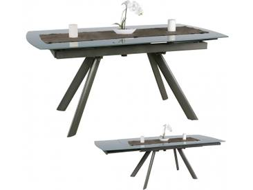 Table à manger extensible 160-240 cm en métal et verre coloris gris collection C-Nollen