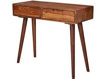Console marron rustique avec 2 tiroirs en bois massif sheesham  L. 90 x P. 36 x H. 76 cm collection C-Kees