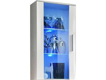 SOLDES - Vitrine murale moderne 110 cm à 1 porte vitrée avec éclairage LED en panneaux de particules coloris blanc brillant