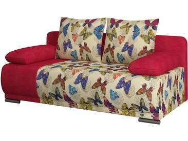 Canapé convertible à 2 places en tissu rouge avec motifs papillons et coffre de rangement