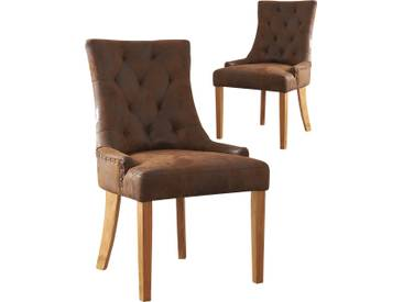 SOLDES - Lot de 2 chaises contemporainses en daim synthétique brun et piétement chêne