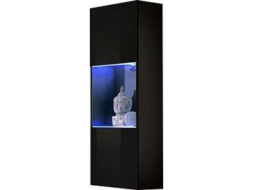 Colonne murale 126 cm avec 1 porte semi-vitrée à 2 étagères avec éclairage LED coloris noir