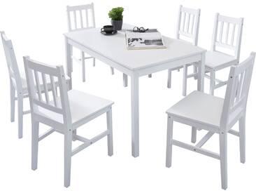 Ensemble 7 pièces table à manger et 6 chaises en bois pin massif coloris blanc table 120 x 73 x 70 cm collection C-Eulalia