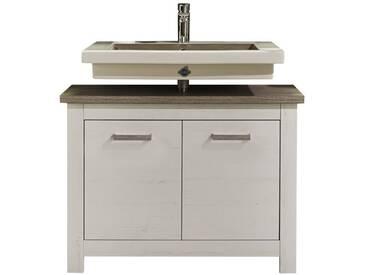 SOLDES - Meuble sous vasque 88 cm avec 2 portes coloris blanc et chêne Nelson