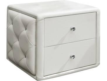 Table de chevet design blanc capitonnée de strass